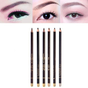 6 Colour Eye Brow Pencil Sweat and Water Resistant Makeup Pen with Eyebrow DIY Grooming Stencil Template Shaping Tool Kit