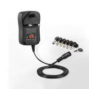 30W Universal 100v-220V UK Charger Adapter Switching Power Supply with 6 Selectable Adapter Tips & Micro USB Plug, Suitable for 3V 4.5V 5V 6V 9V 12V Household Electronics and LED Strip