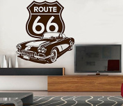 Sticker Route 66. (Approx. 90 x 82 cm), Brown