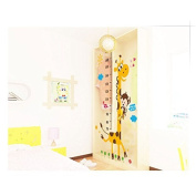 Naughty Monkey and Yellow Giraffe wall decal for kid's bedroom cartoon animals Height Chart (70cm-180cm) Nursery Wall Sticker Decor Removable walpaper for children playroom
