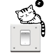 AOWA Cute Cat Nap Pet Light Switch Funny Wall Decal Vinyl Stickers Black