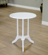 Frenchi Home Furnishing Round Pedestal End Table, White