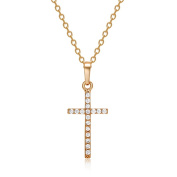 LUFA Mens Womens Gold Silver Plated Crystal Zircon Cross Pendant Necklace Chain