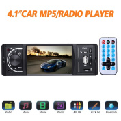 Masione Car Stereo with Bluetooth FM and Radio in Dash - 10cm HD TFT Screen, MP3/Video Player, Single Din USB/AUX-in - Hands-Free Calling, 12V Support, Rear View Camera Input and Remote Control