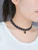 Yean Choker Necklace Lace Choker Collar with Water Droplets Shape Crystal Pendant for Women and Girls