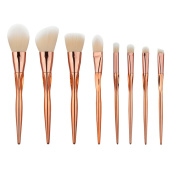 King Love Star Makeup Brushes 8 Pcs/set Plated Heart Shape Handle Professional Cosmetics Foundation Concealer Blush Make Up Brushes