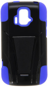 Reiko Silicone Hybrid Protector Cover with Kickstand for ZTE Sonata 4G Z740G - Retail Packaging - Navy/Black