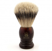 Shaving Brush Royal VP Premium in finest quality with silver tip badger hair - synthetic resin handle tortiepatt