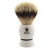 Shaving Brush Royal VP Premium in finest quality with silver tip badger hair - synthetic resin handle white