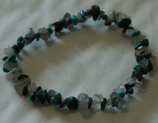 TURQUOISE AND TOURMALINE IN QUARTZ CHIP BEAD HEALING CRYSTAL BRACELET