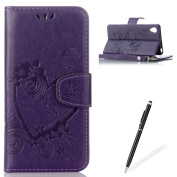 Feeltech Sony Xperia X Flip case, Luxury Embossed Heart Butterfly Series Design Pattern Premium Ultra Slim PU Leather Wallet Cover [With Free Stylus Pen] Magnetic Clasp Closure Soft TPU Inner Bumper Built-in Foldable Stand Function Pocket Card Slots ID ..