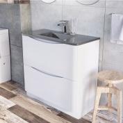 Eaton Floor Mounted Bathroom Vanity Unit Gloss White Grey Glass Basin 900mm