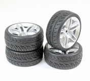 4Pcs 1/10 Scale On-Road Tyres and Wheel Hub for 1/10 RC Car On-Road
