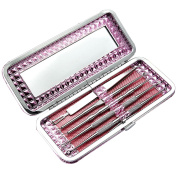 5 PCS Stainless Steel Professional Safe Pimple Extractor Acne Comedone Whitehead Blackhead Removal Tool Set with Luxurious Pink Storage Case Small Mirror