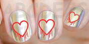 AWS Set Water Dripping BLOODY Newsee Decals Hearts Heart Pattern Nail Art Stickers Red Heart salngue Stickers Valentine's Day Love Transfer Decoration Red Heart Bleed Reconstruction Decoration