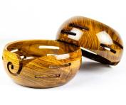 Elegant Rosewood Crafted Premium Yarn Storage Functional Bowl With Innovative Yarn Dispensing Curl | Knitting & Crocheting Accessories | Nagina International