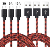 Micro USB Lightning Cable, VPR 3Pack Android Charger Cord nylon braided for Samsung Galaxy, HTC, Huawei, LG, HTC, Motorola and Other Tablet