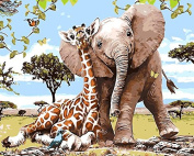 Arts Language Wooden Framed 41cm x 50cm Paint by Numbers Diy Painting -African elephant and giraffe