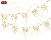 50th Gold Golden Anniversary Heart Themed Bunting Banner 15 flags for guaranteed simply . party decoration by PARTY DECOR
