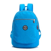 Korean edition colourful printing Lady backpack waterproof lightweight nylon canvas student backpack travel double shoulder bag, sky-blue