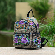 National Wind embroidery bags embroidered canvas 100 Travel backpack shoulder Pack student schoolbag, purple double Azalea