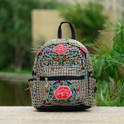 National Wind embroidery bags embroidered canvas 100 Travel backpack shoulder Pack student schoolbag, red single Azalea