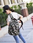Camouflage Canvas Shoulder Bag Lady Backpack Student Korean edition backpack Large capacity college casual bags, Green