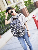 Camouflage Canvas Shoulder Bag Lady Backpack Student Korean edition backpack Large capacity college casual bags, blue