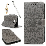 Samsung Galaxy A5 2017 Case, Galaxy A5 Wallet Case 2017, Leather Cover Embossed Sun Florals Design PU Leather Flip Case TPU Bumper Cover Kickstand Magnetic Case with Card Slots Holders & Wrist Strap Case for Samsung Galaxy A5 2017 - Grey