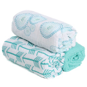 --SALE--Hold Me Close 100% Cotton Muslin Extra Large Swaddle Blanket Set, 3 Pack Swaddles, 120cm x 120cm , Aqua Arrow, Bubbles and Solid Aqua, New Baby Gift,