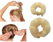 JJMG New Hair Bun Maker Hair Donut Foam Sponge Clip French Twist, Ring Style Bun 2-pcs Large & Small Helps Create a Full Fashionable Bun that Looks Perfect