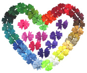 Syleia 40 Pack 7.6cm Pinwheel Bow Hair Clips Bright Colours Hair Accessories Grosgrain Ribbon and Alligator Clip