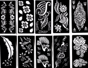 Henna Stencil Tattoo (10 Sheets) Self-Adhesive Temporary Tattoo Template - Beautiful Body Art Painting Mehndi Designs