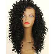 PlatinumHair black kinky curly wigs synthetic lace front kinky curly wigs heavy density 60cm