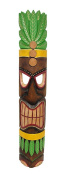 Brown Tiki Mask with Leafy Green Headdress Yellow Accents 100cm .
