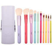Matto Makeup Brushes 10-Pieces Colourful Wood Handles Synthetic Hairs Makeup Brush Set with Cosmetic Brush Holder
