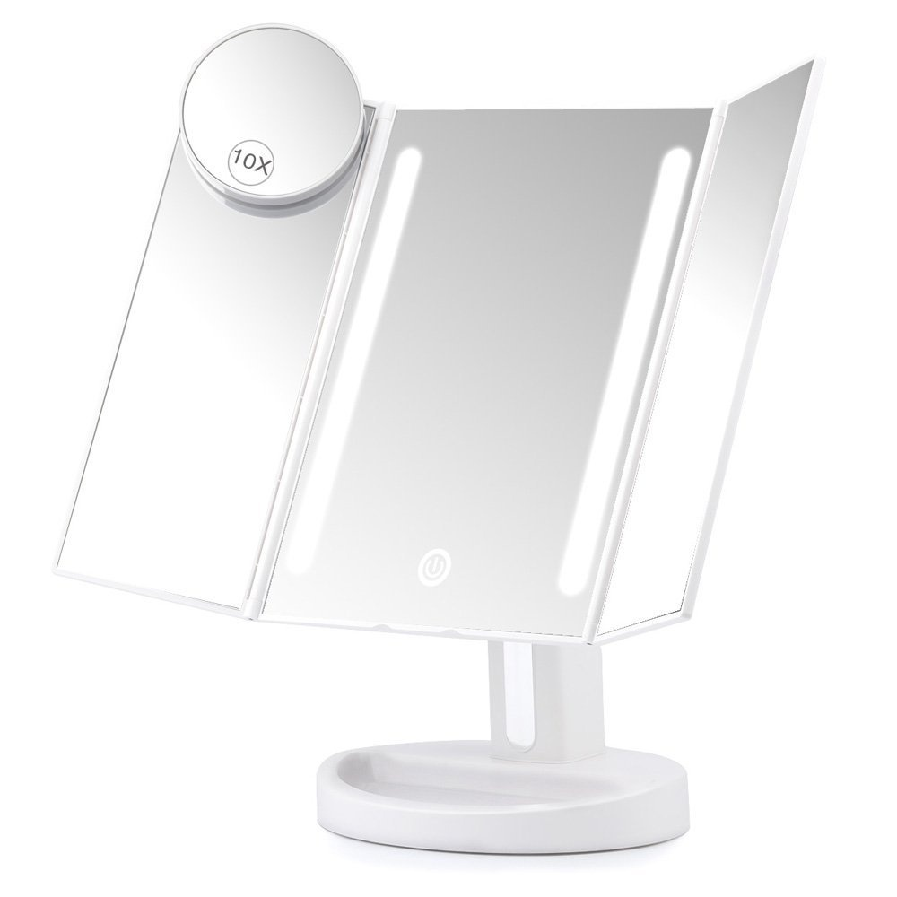 Herwiss Lighted Vanity Makeup Mirror With 10x Magnifying Soft Led Light Illuminated For Beauty Cosmetic Shaving Auto Off Dual Power Supply 180 Degree