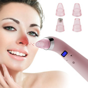 Olssda Blackhead Vacuum Extractor, Comedo Suction Tool, Microdermabrasion Diamond Machine, Vacuum Blackheads Removal with 4 Replacement Heads and USB Charging Cable
