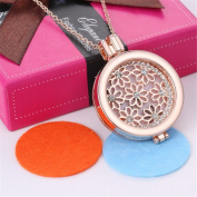 Vintage Flower Crystal Aromatherapy Essential Oil Diffuser Necklace Rhinestone Rose Gold Locket Pendant,3 Colourful Pads