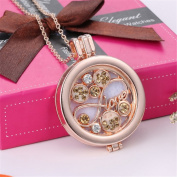 Crystal Infinity Love Aromatherapy Essential Oil Diffuser Necklace Rose Gold Hollow Locket Pendant Jewellery for Bride,3 Felt Pads