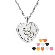Peace Dove Heart Rhinestones Aromatherapy Essential Oils Diffuser Necklace-Stainless Steel Locket Pendant with 12 Colourful Pads