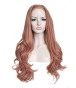 Uniwigs New Arrival Heat Friendly Synthetic Fibre Lace Front Wig, Coral Pink Wigs, Wavy Wig for Fashion Women