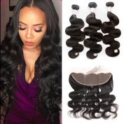 Brazilian Body Wave 3 Bundles With Frontal Closure Human Hair Extensions Ear To Ear Lace Frontal Closure With Bundles Natural Colour Wet And Wavy Virgin Brazilian Hair