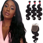Top Quality Beautiful Human Hair Brazilian Body Wave Hair with Lace Closure 4x4 Grade 8A Unprocessed Virgin Human Hair 400g
