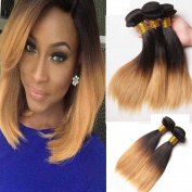 Fashion Lady Hair 300g silky Hair Dark Roots Honey Blonde End Hair 1B#27 Straight Ombre Human Hair 3 Bundles Brazilian Hair Extensions 100% Remy Virgin Hair Weave Straight