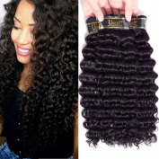 "Uneed Hair 8A Brazilian Virgin Human Hair Deep Wave 3 Bundles 100% Unprocessed Hair Weave Weft (95-100g/bundle) Natural Colour 16""18""20"""