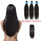 HAIQUAN 18 18 20 +16 Closure Straight Hair Weft 3 Bundles With 1Pcs Lace Closure Brazilian Virgin Human Hair Free Part 4x4 Hair Extensions Natural Colour 335-350g/Package