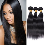 Worldflying 3 Bundles 100% Unprocessed Brazilian Straight Human Hair Extensions Natural Colour