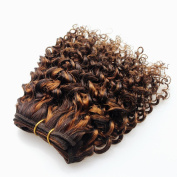 Double Drawn Hair Weft Kinky Curly 20cm Short Brazilian Bob Weave F4#/30# Light Brown To Blond Ombre Curly Weavsew In Human Virgin Hair