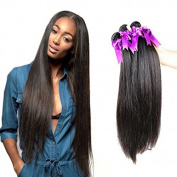 OYM HAIR Brazilian Straight Hair 3 Bundles 100% Unprocessed Virgin Human Hair Extensions Silky Straight Weave Natural Colour